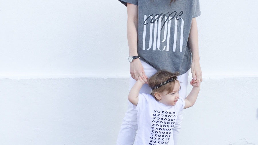 Women and toddler in tiny love design tees